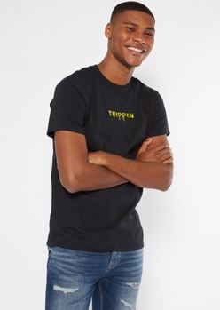 black trippin drippy embroidered tee - Main Image