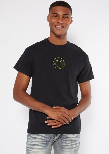 black wavy smiley face embroidered tee - Main Image