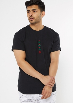 black no love rose embroidered tee - Main Image