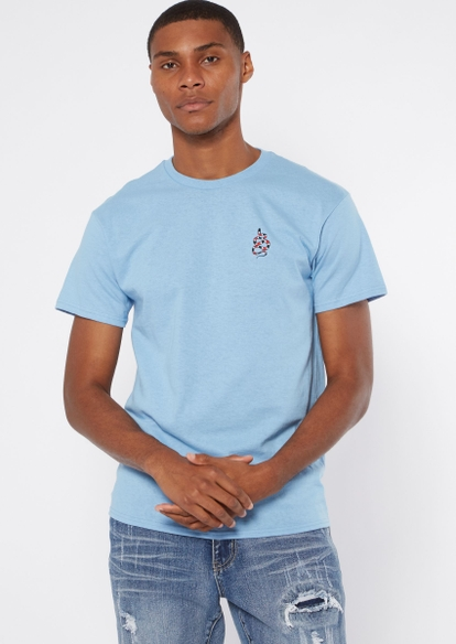 light blue snake embroidered tee - Main Image