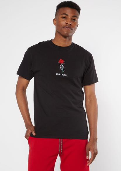 black lonely world embroidered tee - Main Image