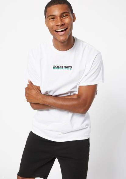 white scripted good days embroidery tee - Main Image
