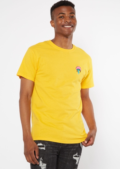 yellow melted mushroom embroidered tee - Main Image