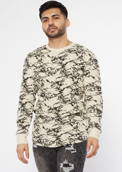 sand marble print thermal crew neck top - Main Image