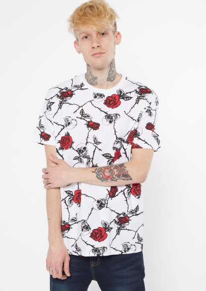 white barbed wire rose print graphic tee - Main Image
