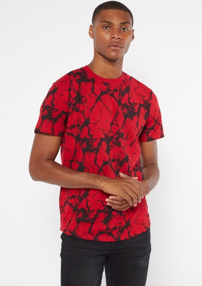 red marbled print essential tee - Main Image