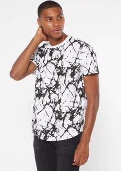 white marbled print essential tee - Main Image