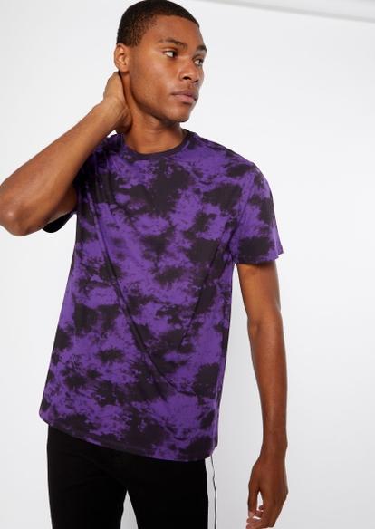 black and purple tie dye print tee - Main Image