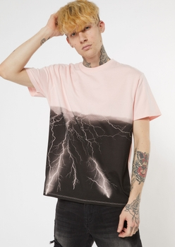 pink lightning print tee - Main Image