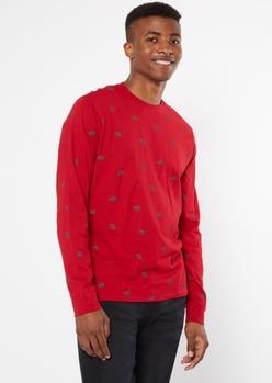 red rose print long sleeve tee - Main Image