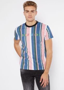 blue vertical stripe print self made embroidered tee - Main Image