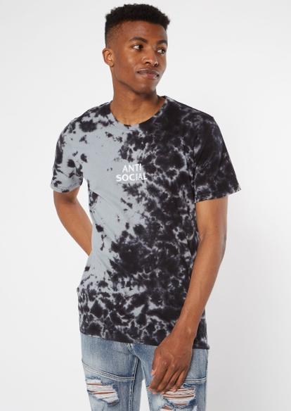 black embroidered anti-social tie dye tee - Main Image