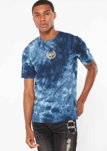 blue tie dye la drip embroidery tee - Main Image