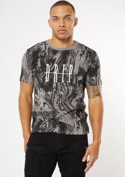 charcoal gray marble drip graphic tee - Main Image