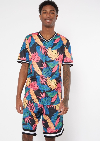 tropical print v neck jersey top - Main Image