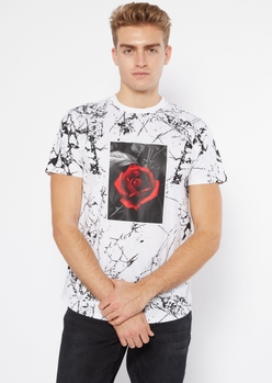 white marbled rose graphic tee - Main Image