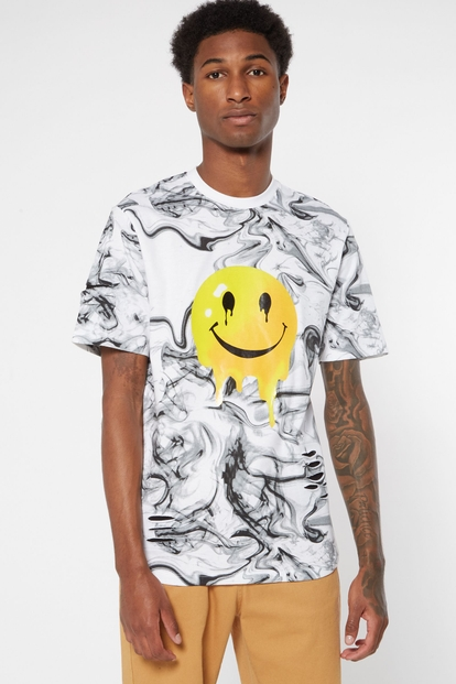 marble print smiley face drip graphic tee - Main Image