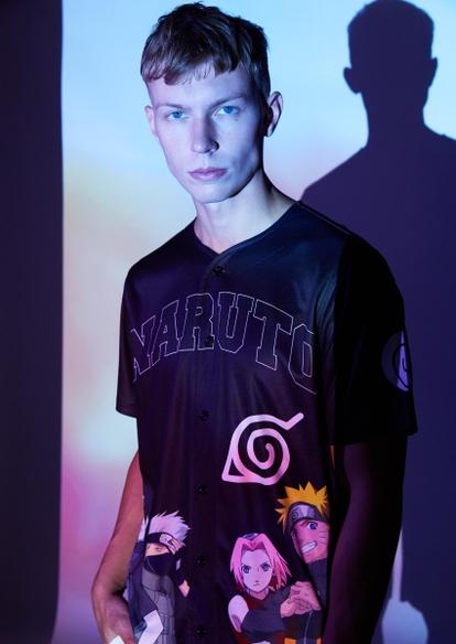 black mesh naruto graphic jersey tee - Main Image