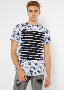 black tie dye slashed chest tee - Main Image