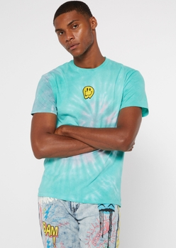 blue tie dye drippy smiley embroidered tee - Main Image