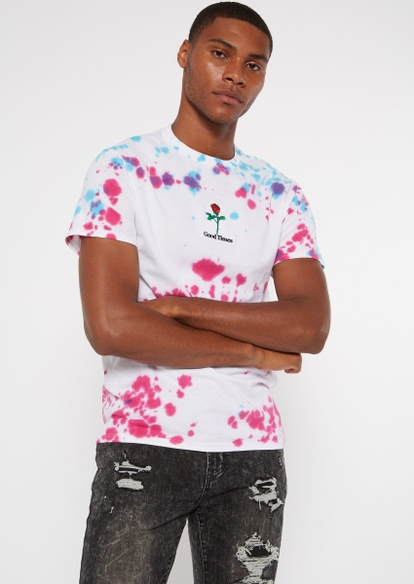 white tie dye good vibes embroidered tee - Main Image