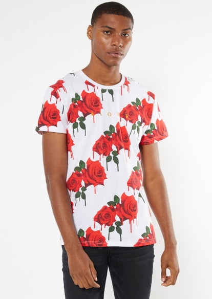 white drippy rose print alone embroidered tee - Main Image