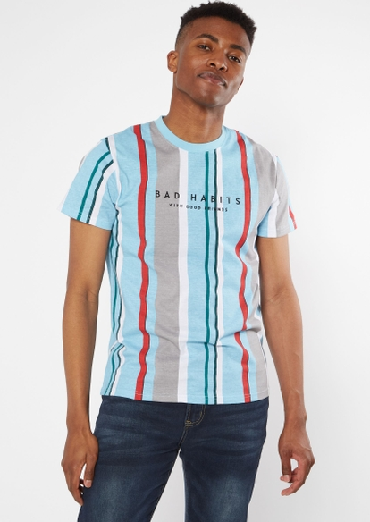 blue striped bad habits embroidered tee - Main Image