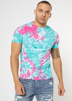 blue tie dye bad habits embroidered tee - Main Image