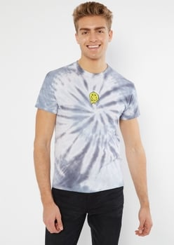 gray tie dye thanks for nothing embroidered tee - Main Image