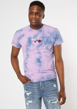 purple tie dye not sorry embroidered tee - Main Image
