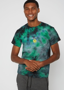 green tie dye trippy smiley embroidered tee - Main Image