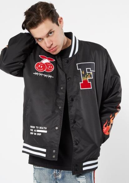 black fresh rose bomber jacket - Main Image