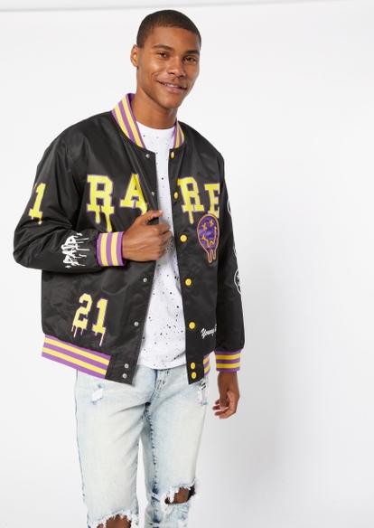 black rare smiley bomber jacket - Main Image