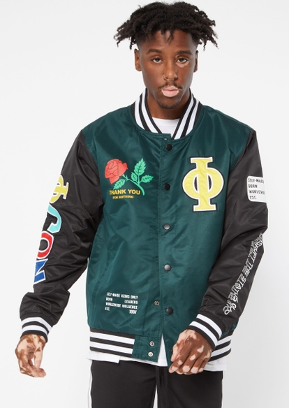 green colorblock rose bomber jacket - Main Image