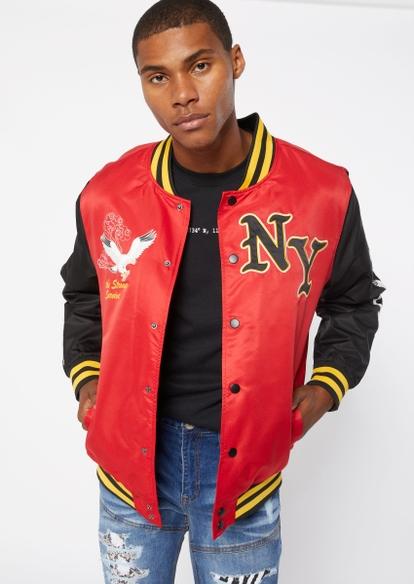 red ny colorblock bomber jacket - Main Image