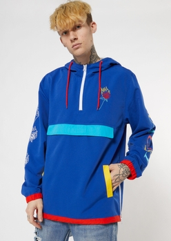 blue embroidered rose flame windbreaker - Main Image