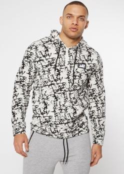 white marble print half zip hoodie - Main Image
