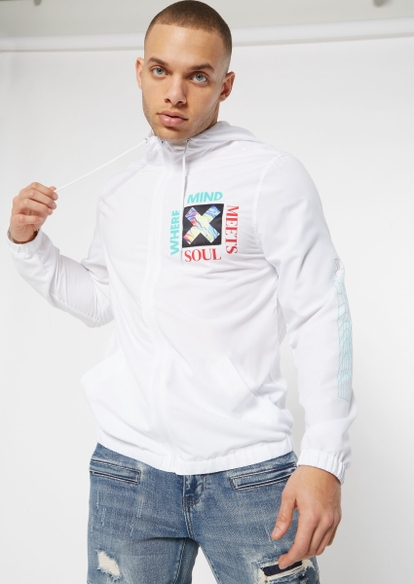 white where mind meets soul graphic windbreaker - Main Image