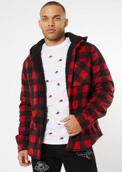 red buffalo plaid sherpa lined polar fleece hooded jacket - Main Image