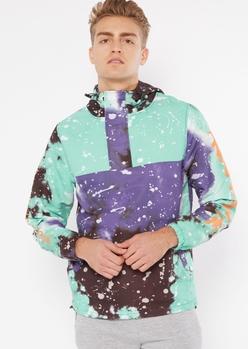purple tie dye pullover windbreaker - Main Image