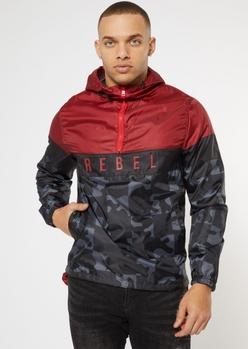 maroon colorblock rebel windbreaker - Main Image