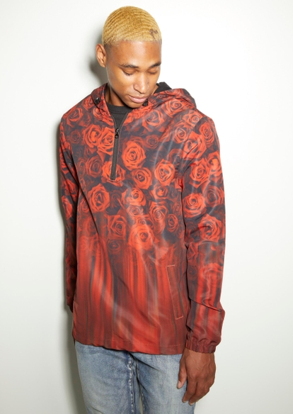 red faded rose print hoodie - Main Image