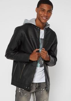 black moto faux leather hooded jacket - Main Image