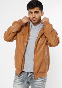 cognac hoodie lined bomber jacket - Main Image