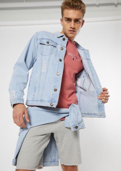medium wash distressed jean jacket - Main Image