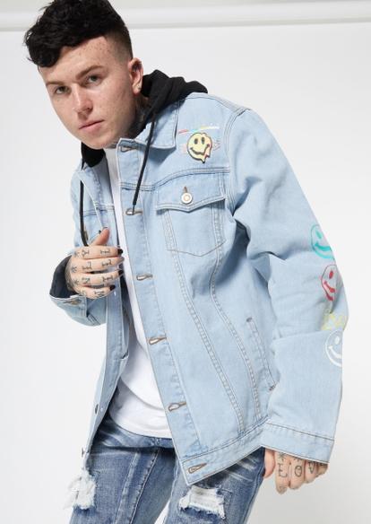light wash smiley face drip embroidered fleece hood denim jacket - Main Image