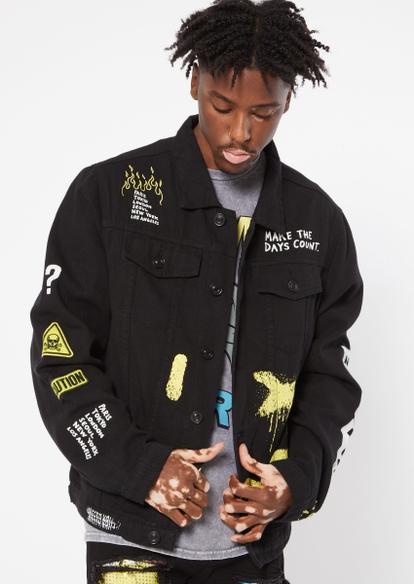 black wasted youth jean jacket - Main Image