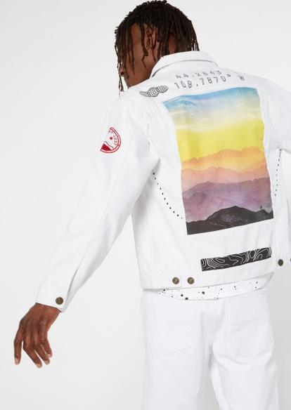 white good times ahead graphic denim jacket - Main Image