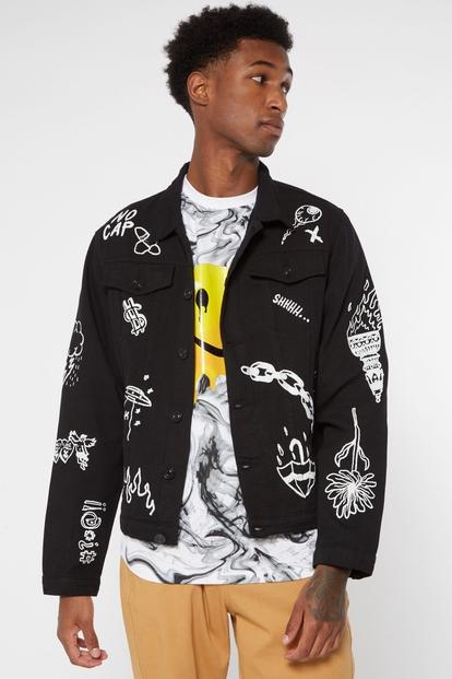 black doodle graphic jean jacket - Main Image
