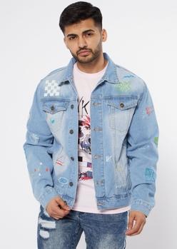 blue savage doodle jean jacket - Main Image